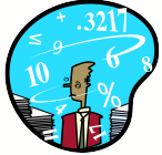cartoon of person with numbers flying round their head